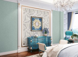 丽绣刺绣墙布卧室床头背景墙装修效果图