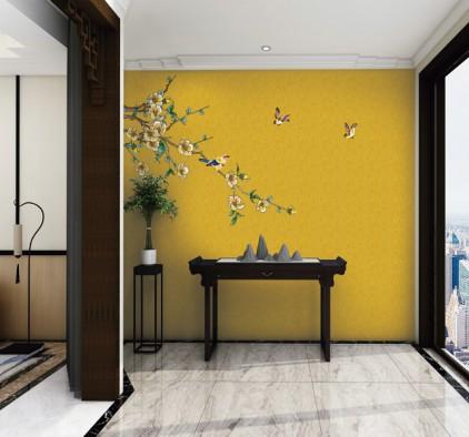 丽绣刺绣墙玄关背景墙装修效果图