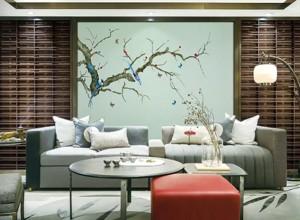 雅绣之家墙布独绣系列沙发背景墙效果图