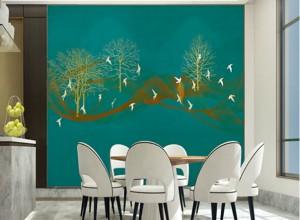 雅绣之家墙布独绣系列餐厅背景墙效果图