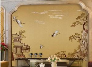 雅绣之家墙布独绣系列茶室书房效果图