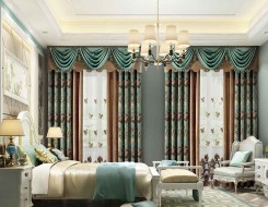 卧室窗帘图片,伊莎莱窗帘美式装修图