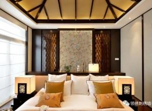 领绣刺绣墙布图片 新中式风格实景效果图