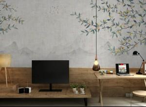 玉兰墙纸定制壁画图片 新中式复古装修效果图