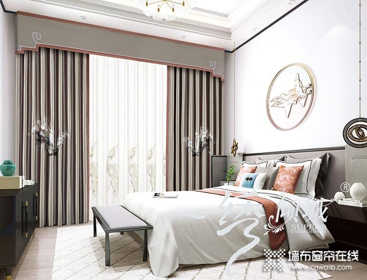 一绣倾城窗帘卧室装修效果图