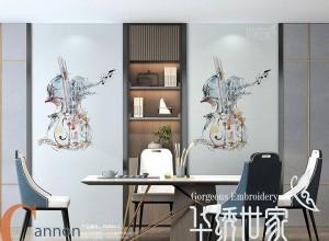 一绣倾城墙布图片,背景墙新中式风格装修效果图