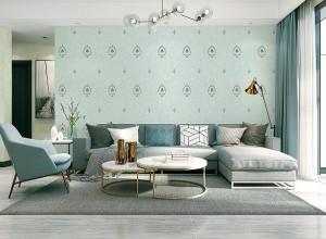 欧缇莎墙布优雅蓝风格效果图,永不褪色的浪漫