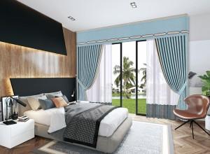 环美空间窗帘现代风装修效果图,卧室窗帘效果图