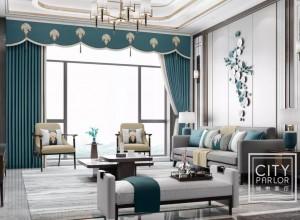 城市客厅成品窗帘新中式风格装修图