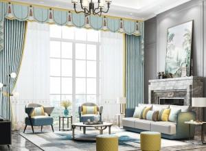 城市客厅成品窗帘小美式风格客厅装修图