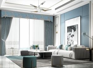 城市客厅窗帘图片,轻奢风窗帘装修效果图