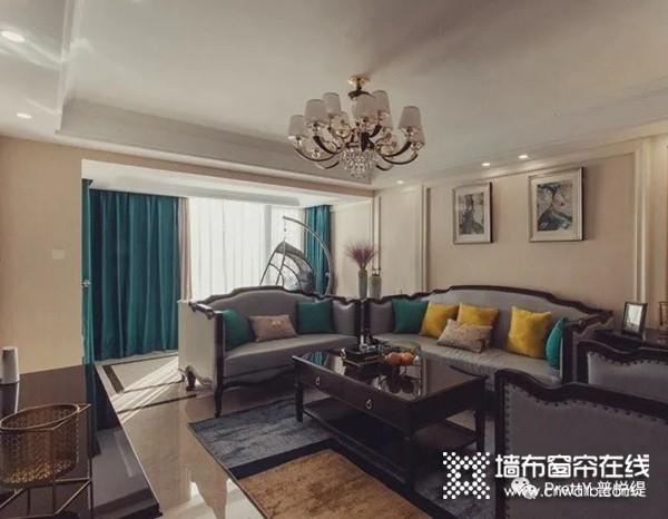 普悦缇墙布美式客厅装修效果图