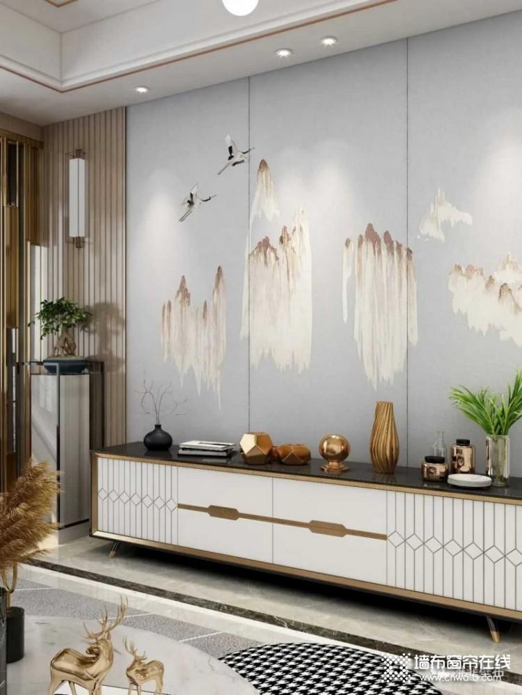 雅菲壁布独幅新品系列背景墙效果图,新中式背景墙