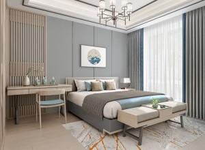 欧雅壁纸卧室效果图,新中式风格卧室装修图