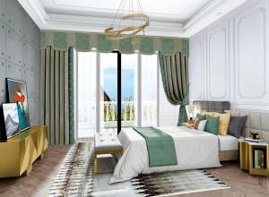 瑞宝软装新中式风格卧室装修效果图