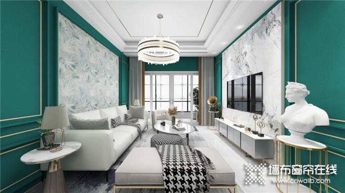丽绣的金色与松石绿组合,完美诠释现代美式的奢雅魅力