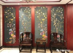 领绣墙布中式实景案列,中式装修效果图