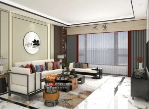 美居乐窗帘卧室新中式风格,客厅窗帘装修图