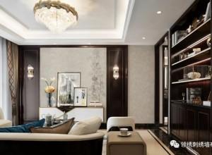 领绣墙布装修图,呈现对繁花、舒枝不同角度的表达