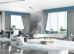 雅琪诺软装新品窗帘系列浮光跃金效果图