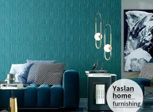 雅诗澜墙布窗帘孔雀蓝系列效果图,勾画绝世独立的居家之美