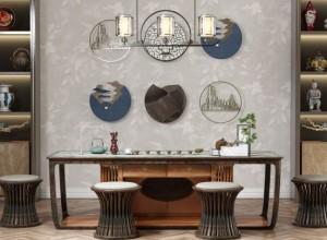 蓝绣刺绣壁布新中式效果图,轻奢气质的古韵!